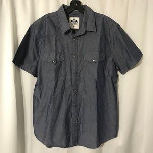 Express Iridescent Blue Short Sleeve Dress Shirt